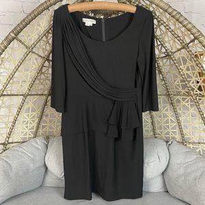 Kay Unger Mid Length Sleeve Ruffle Dress - Black